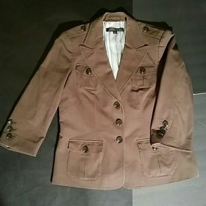 Anne Klein Cotton Blend Military Style Jacket. 14